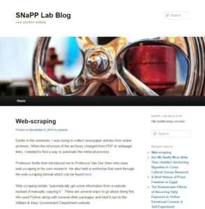 SNaPP Blog Screenshot